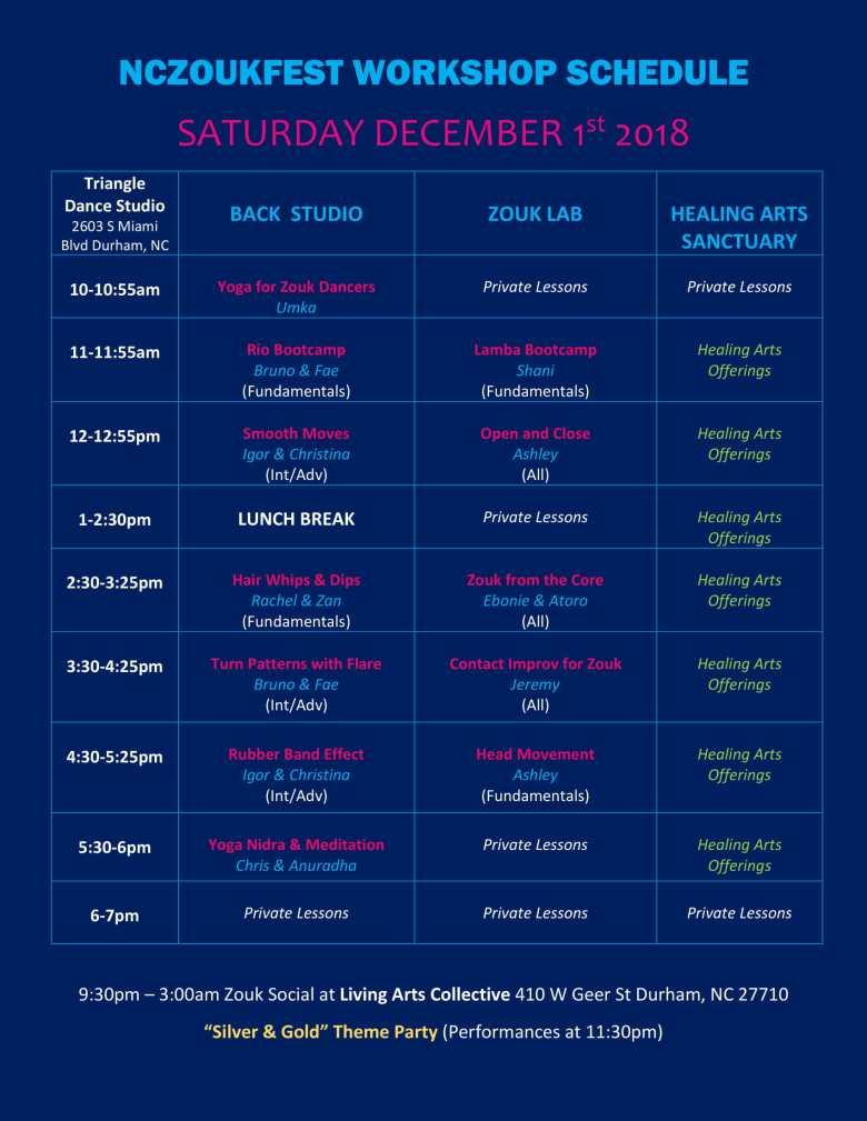 NCZF Schedule 2018 Saturday