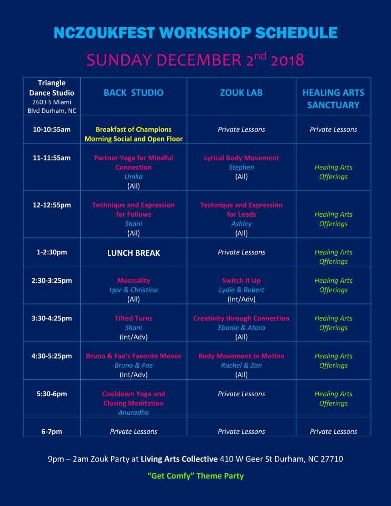 NCZF Schedule 2018 Sunday