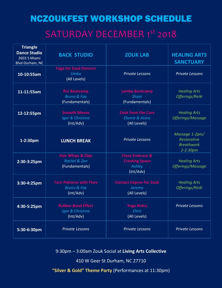 NCZF Saturday Schedule